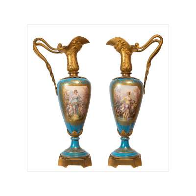 Important Pair of Large Sèvres Style Ewers