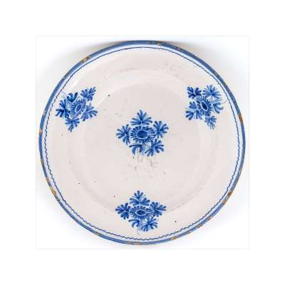 Alcora Plate with Blue Flowers