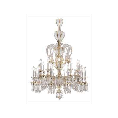 Baccarat Crystal and White Opaline 24-Light Chandelier