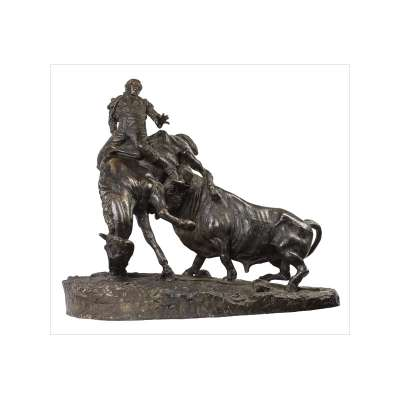 Bronze Picador and Bull Sculpture by Juan Polo Velasco