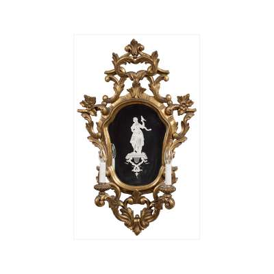 La Granja Giltwood Mirror Two-Light Sconce