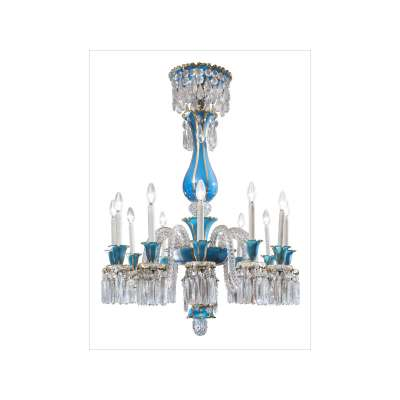 Baccarat Crystal and Blue Opaline 12-Light Chandelier