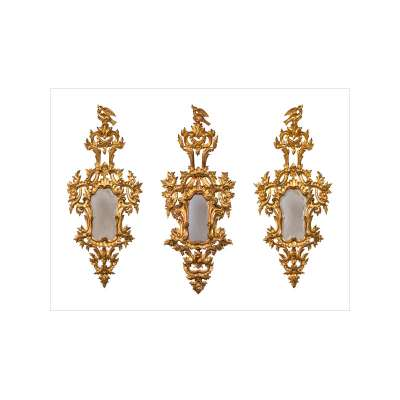 Trio of French Rococo Carved Giltwood Mirrors