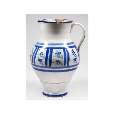 Manises Pitcher with Blue Flowers