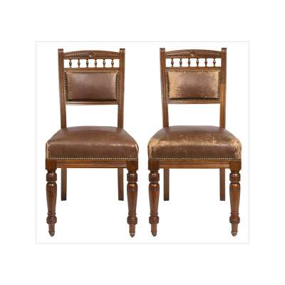 Pair of Victorian Style Leather Upholstered Chairs