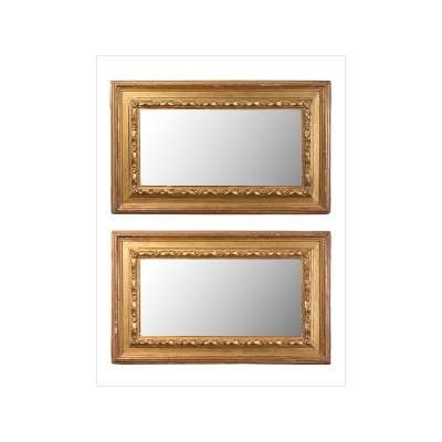 Matched Pair of Rectangular Giltwood Mirrors