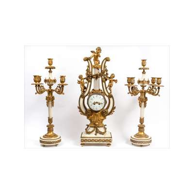 Lyre Ormolu Clock with Candelabra
