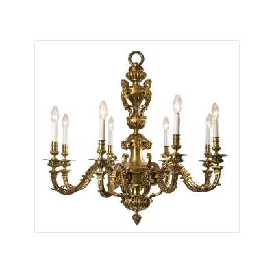 Gilt Brass 8-Light Chandelier in Style of Boulle