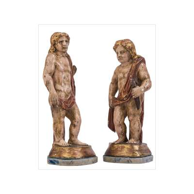 Pair of Polychrome Wood Angels
