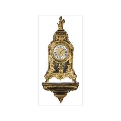 Large Boulle Clock with Matching Shelf