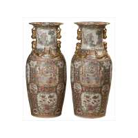 Pair of Large Urns with Stands