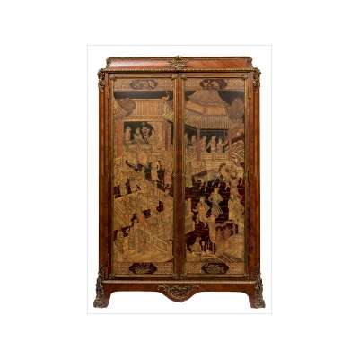 Louis XV Style Armoire with Chinoiserie Coromandel Panels