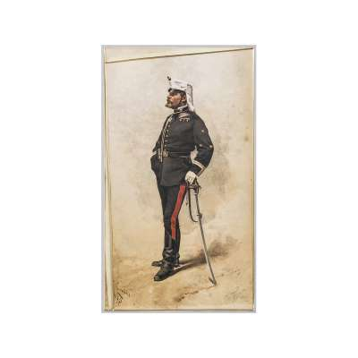 Color Engraving of a Military Officer