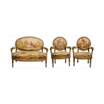 Aubusson Carved Giltwood Salon Suite with Settee and Chairs
